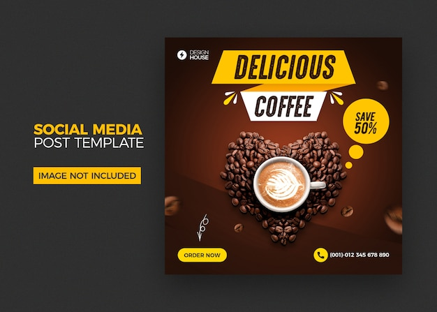 Coffee social media post template Premium Psd