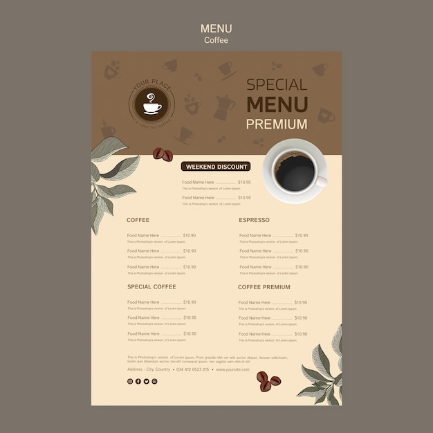 Coffee special menu template Free Psd