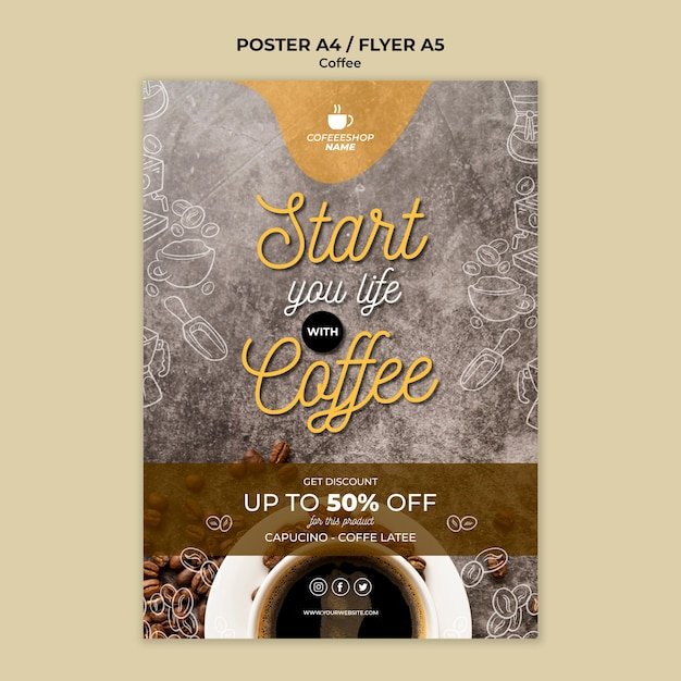 Coffee special offer poster template Free Psd