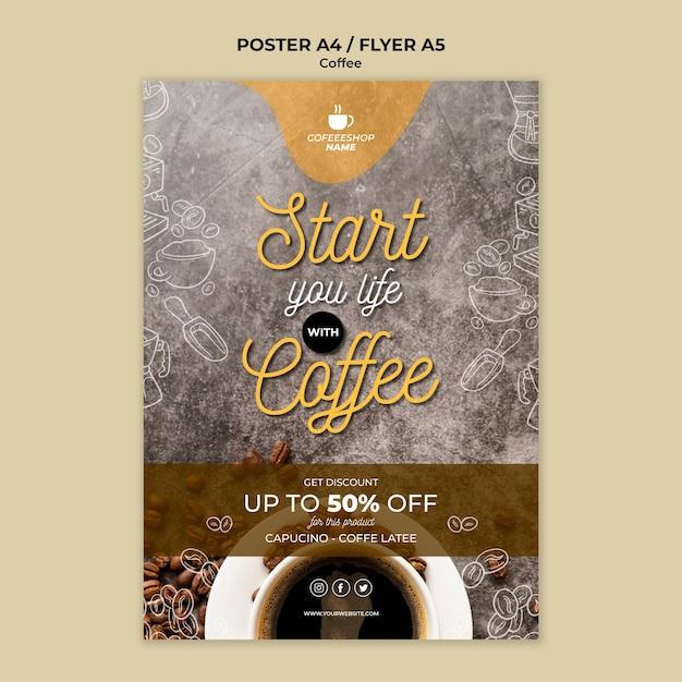 Шаблон плаката со специальным предложением кофе Бесплатные Psd