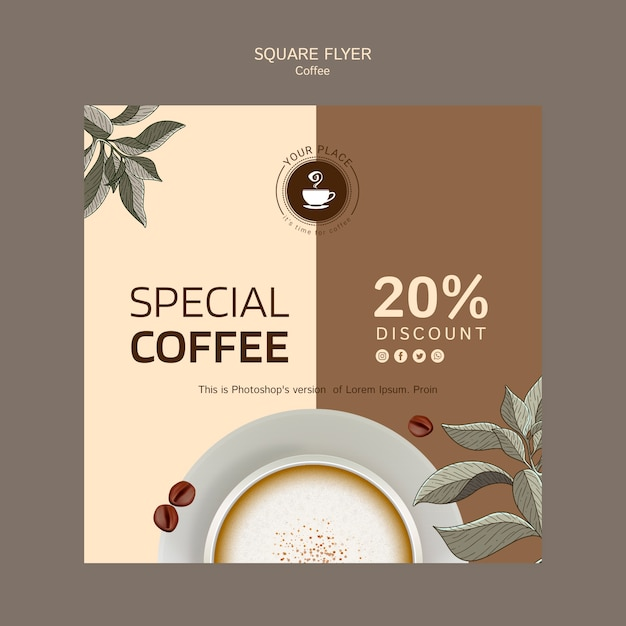 Coffee square flyer template Free Psd