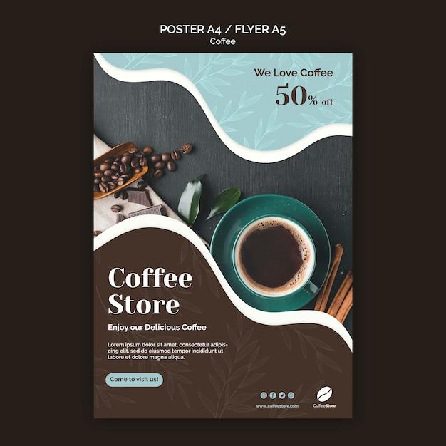 Шаблон плаката кофейни Premium Psd