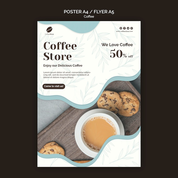 Шаблон плаката кофейни Бесплатные Psd