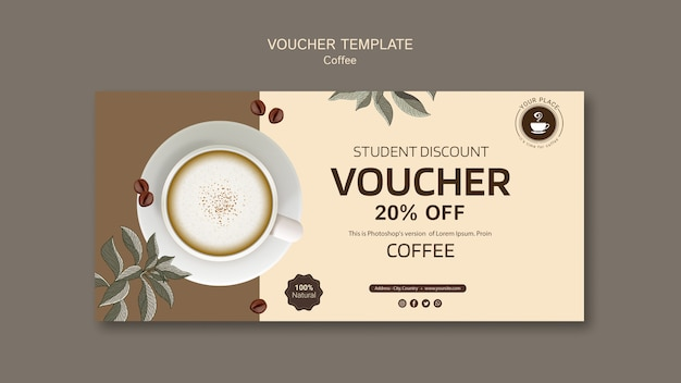 Free PSD | Coffee voucher template with discount