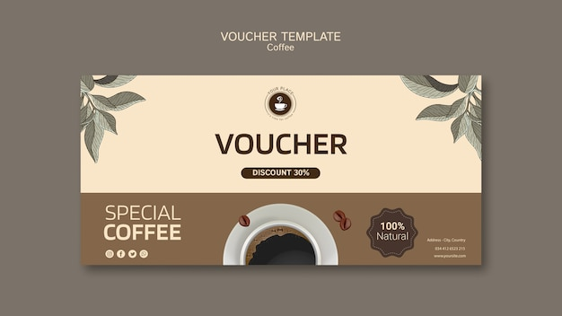 Coffee voucher template Free Psd