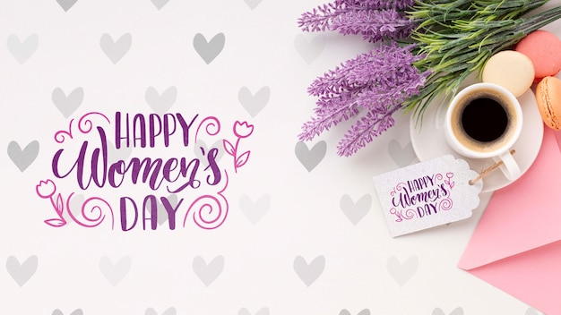 Coffee with lavender for womens day celebration Free Psd