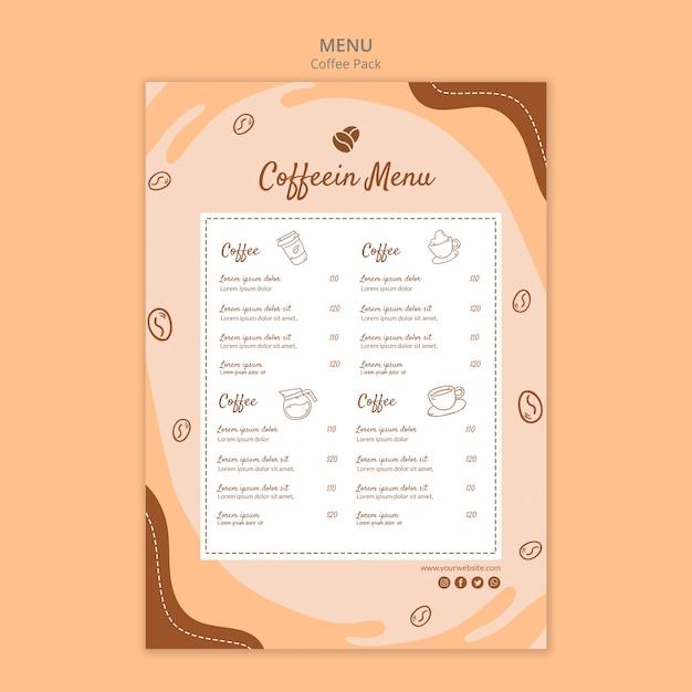 Кофейный пакет меню кофе Бесплатные Psd