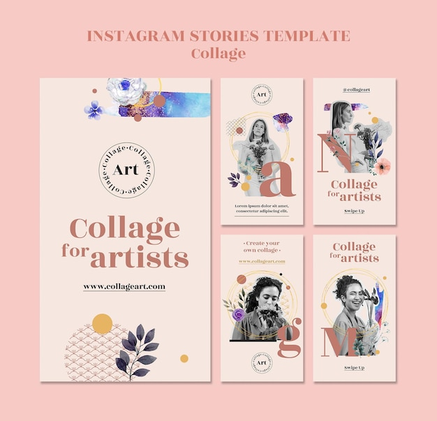 Collage for artists instagram stories template Premium Psd