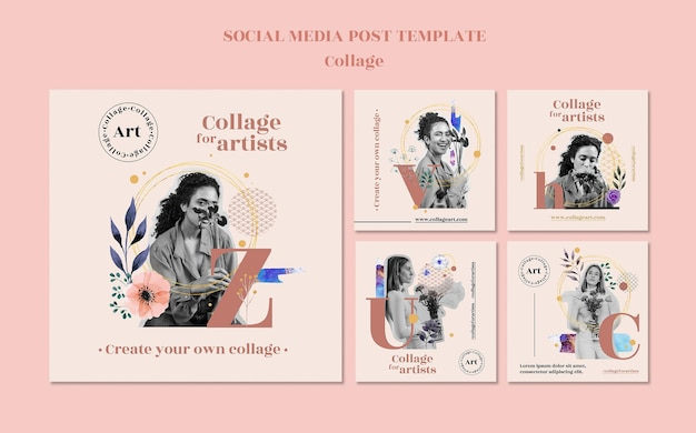 Collage for artists social media post template Free Psd