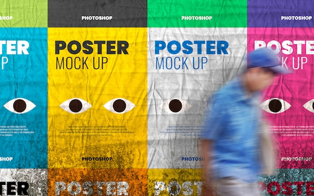 Collage poster mockup on grunge wall realistic Premium Psd