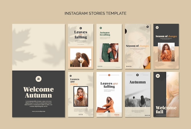 Collection of autumn web templates Free Psd
