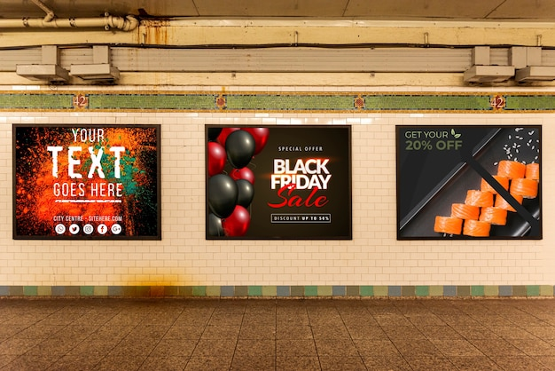 Collection of billboard mock-ups Free Psd