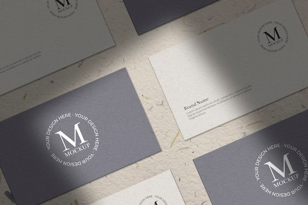 Collection of business card with shades mockup Free Psd