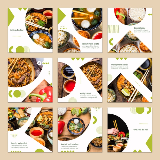 Collection of card template with food concept Free Psd