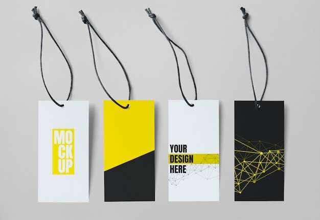 Collection of four tag mockups Premium Psd