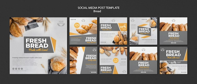 Collection of instagram posts for bakery shop Free Psd
