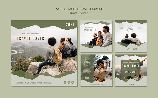 Collection of instagram posts for outdoors traveling Free Psd