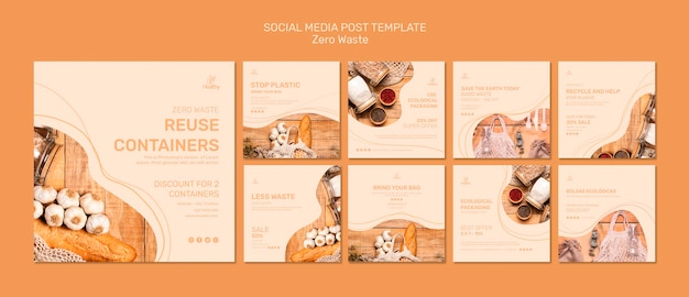 Collection of instagram posts for zero waste Free Psd