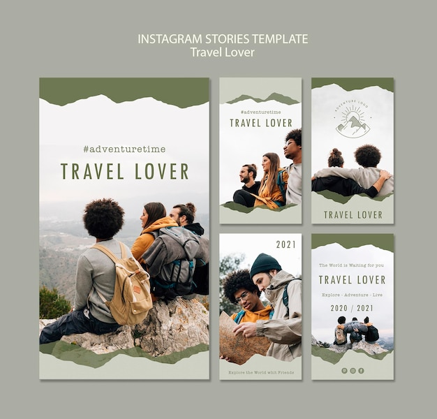 Collection of instagram stories for outdoors traveling Free Psd