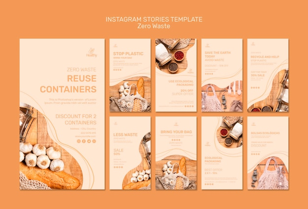 Collection of instagram stories for zero waste Free Psd