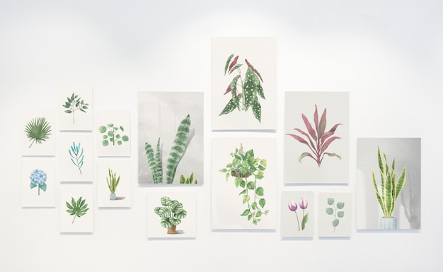 Collection of leaf paintings on a wall Free Psd