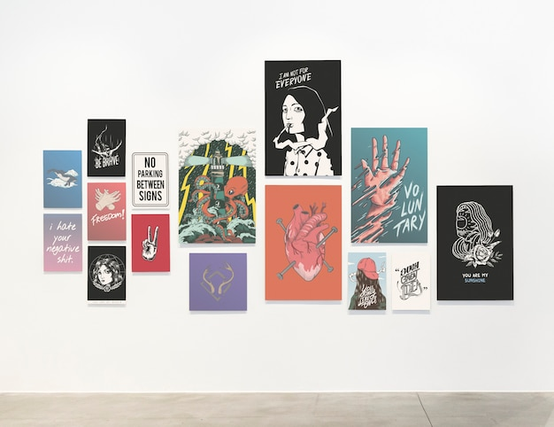 Collection of motivational posters on a wall Free Psd