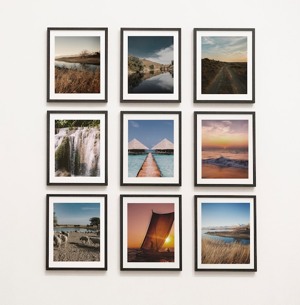 Collection of art pieces on the wall Free Psd