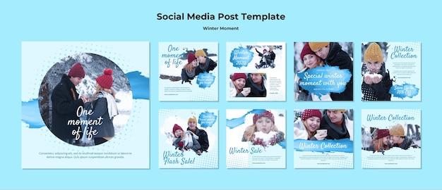 겨울 커플 순간에 대한 instagram 게시물 모음 무료 PSD 파일