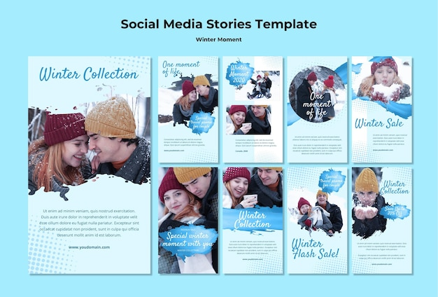 冬のカップルの瞬間のためのinstagramの物語のコレクション 無料 Psd