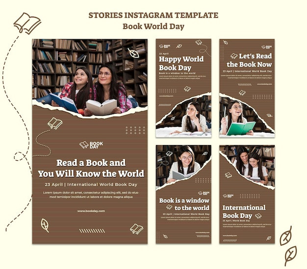 세계 도서의 날 Instagram 이야기 모음 프리미엄 PSD 파일