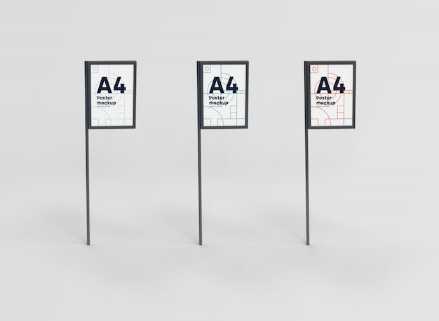 Collection poster a4 mockup psd Free Psd