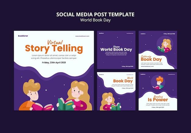 Raccolta di post di instagram della giornata mondiale del libro Psd Gratuite