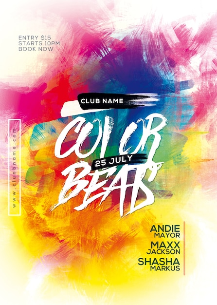 Color beats party flyer Premium Psd