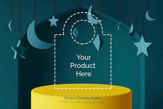 Color realistic podium product display 3d scene with ramadhan islamic theme Premium Psd