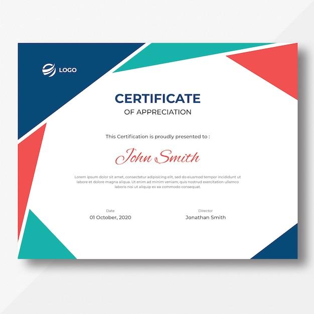 Colored geometric shapes certificate design template Premium Psd