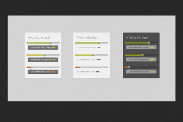Colored poll with progress bars Free Psd