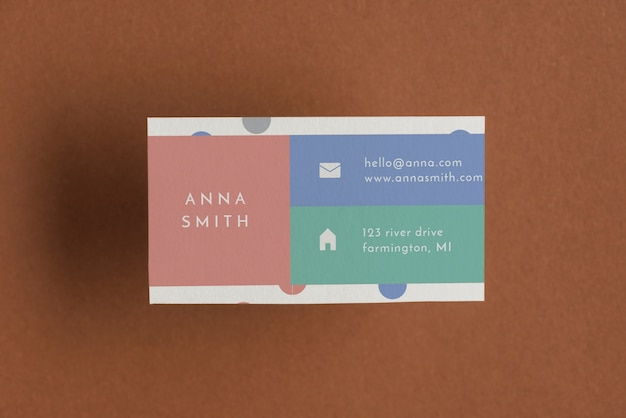 Colorful business card mockup Free Psd