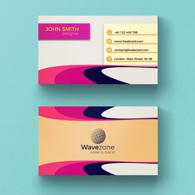 Colorful business card with circular shapes PSD file