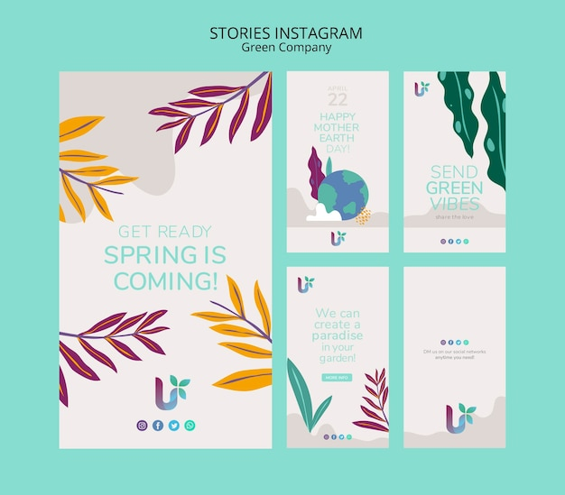 Colorful business instagram stories concept template Free Psd