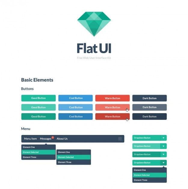 Colorful buttons flat ui kit psd Free Psd