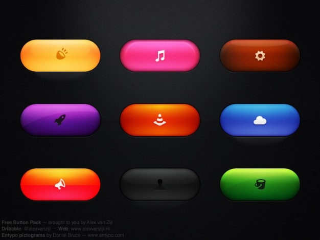 Colorful buttons with icons psd Free Psd