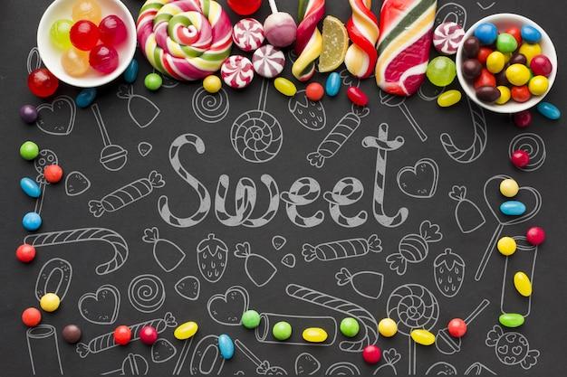 Красочные конфеты на столе Бесплатные Psd