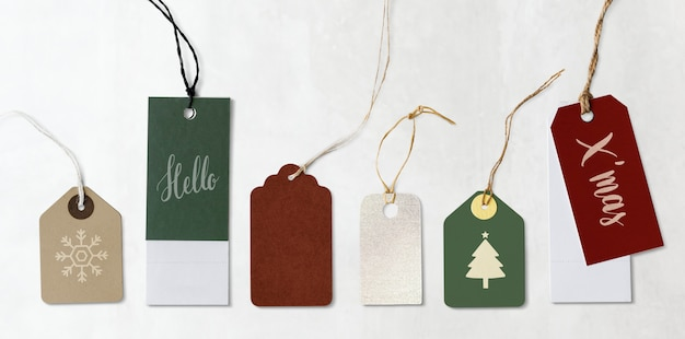 Colorful christmas labels and tags mockups Free Psd