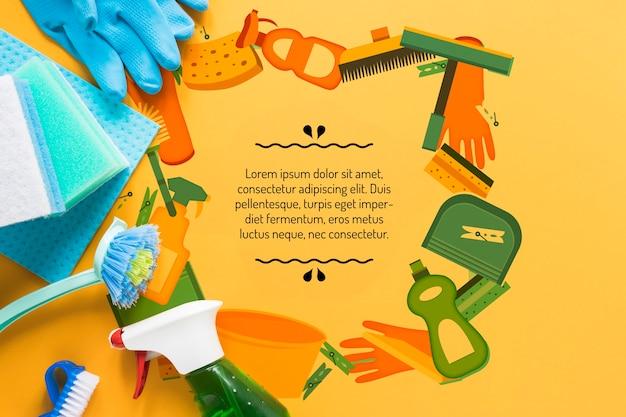 Attrezzature colorate per il servizio di pulizia Psd Gratuite