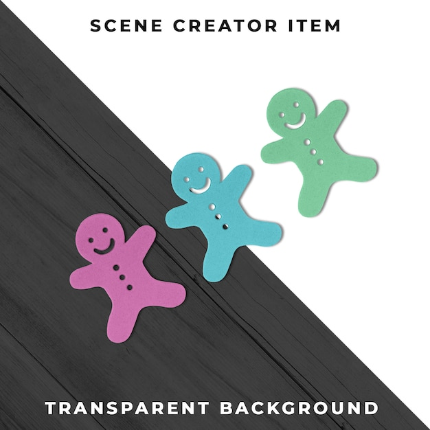 Colorful cutout characters tranparent psd Free Psd