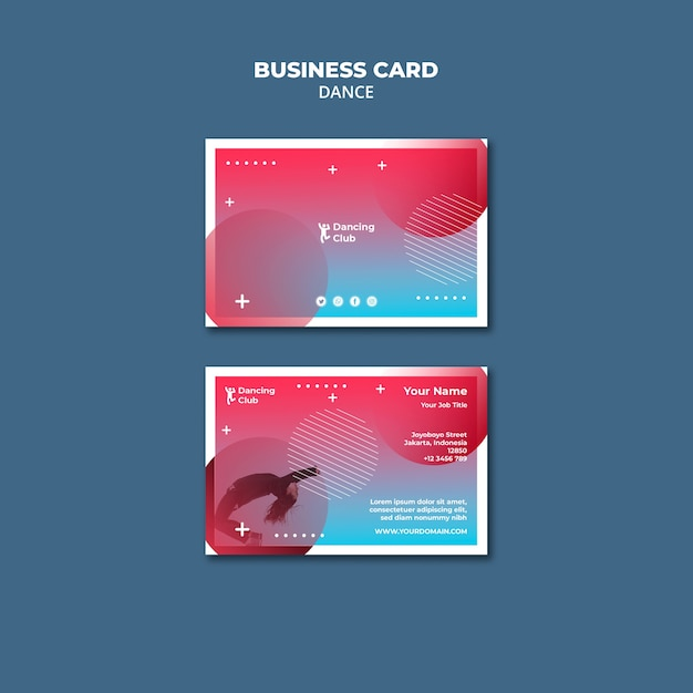 Colorful dance business card template Free Psd