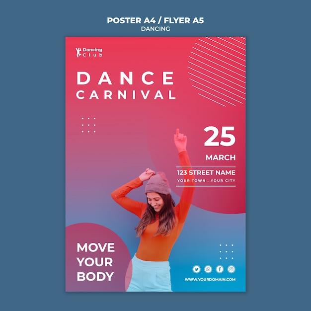 Modello di manifesto di danza colorata Psd Gratuite