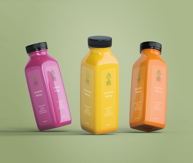 Colorful delicious smoothies mock-up Free Psd