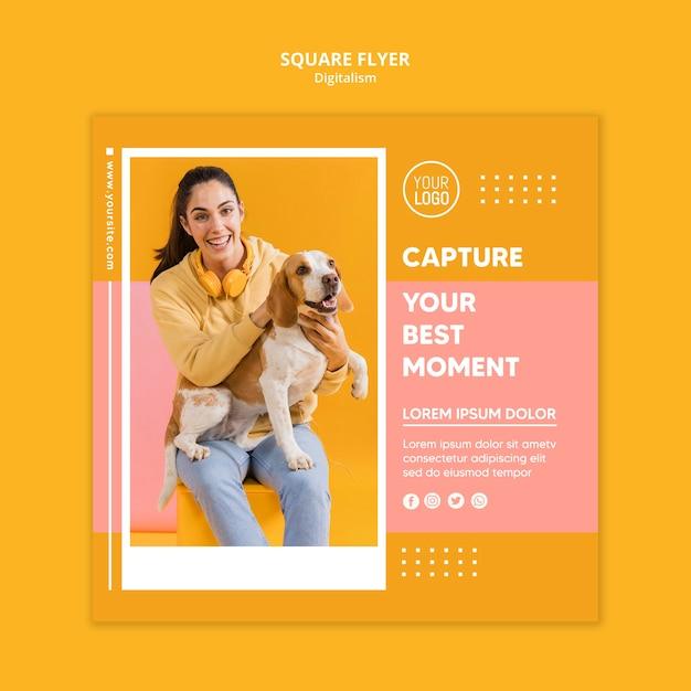 女性の写真とカラフルなデジタルチラシテンプレート Premium Psd