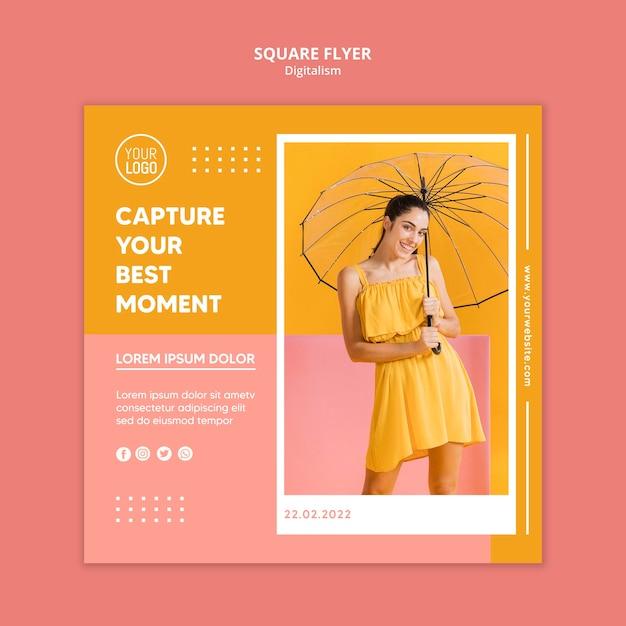 女性の写真とカラフルなデジタルスクエアチラシテンプレート 無料 Psd